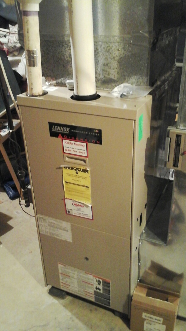 Olivet, MI - Performed a precision tune-up on a Lennox G32 90% furnace with a 20 x 25 x 4 media air filter.