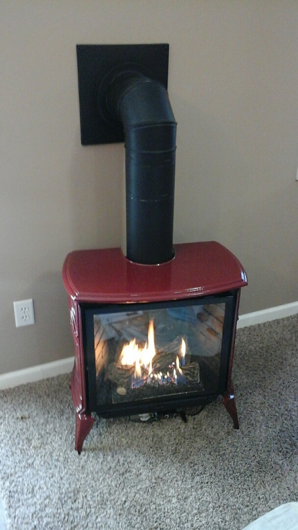 Bellevue, MI - New installation of a Stardance direct vent gas heater with propane gas input.