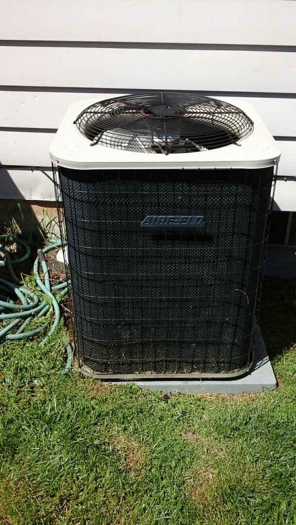 Battle Creek, MI - Yearly maintenance tune-up on a Aire-flo air conditioning unit with R - 22 refrigerant charge and a PMAC -12C media air filter and condensate pump.