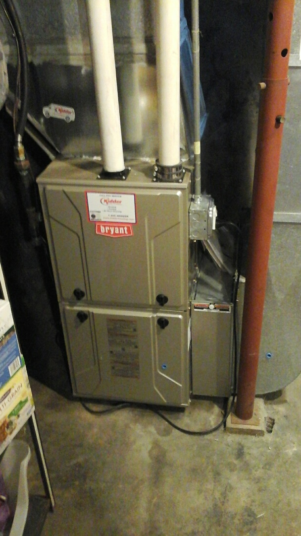Marshall, MI - Yearly maintenance tune-up on a high efficiency, Bryant condensing furnace with a 16 � 25 � 4 media air filter.