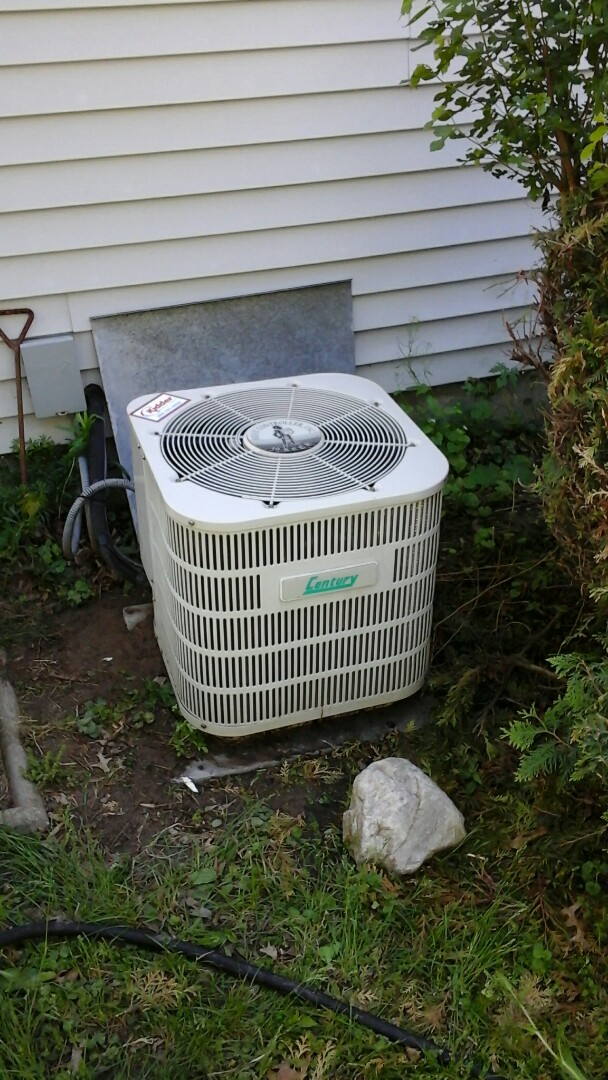 Homer, MI - Yearly maintenance tune-up on a Century air-conditioning unit with R - 22 refrigerant charge and a 16 � 25 � 1 pleated air filter.