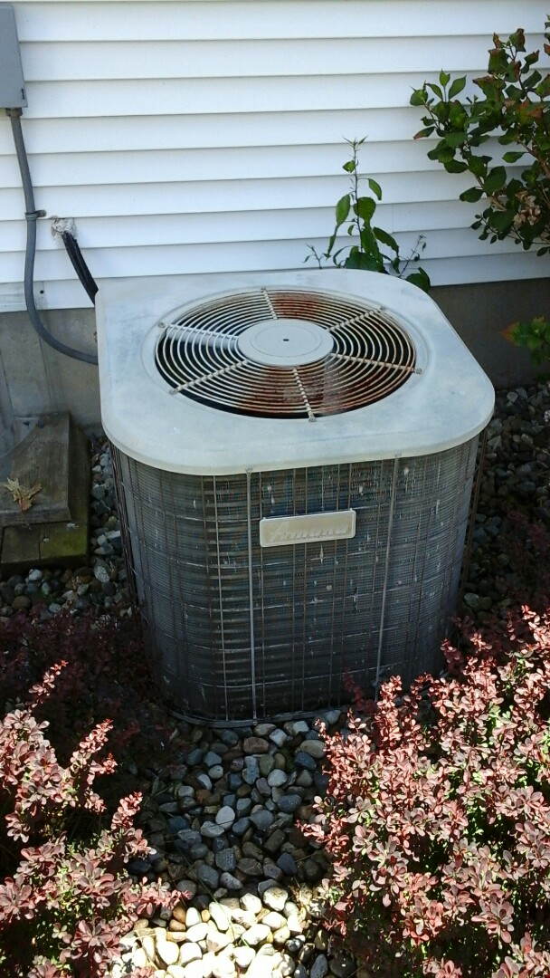 Marshall, MI - Yearly maintenance tune-up on a Amana air-conditioning unit with R - 22 refrigerant charge and a 16 � 25 � 4 media air filter.