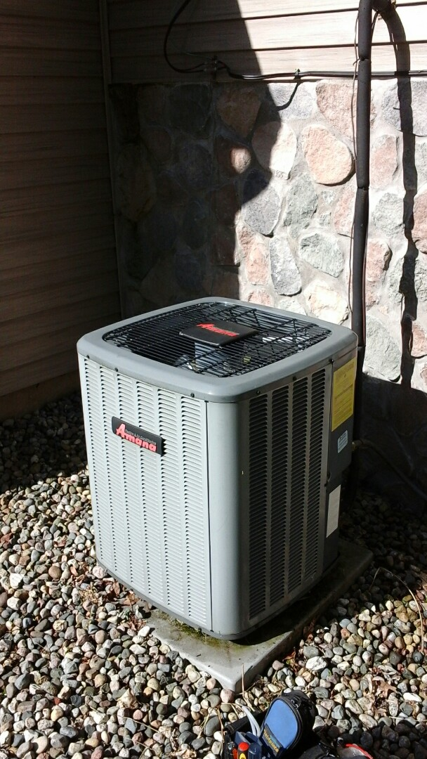 East Leroy, MI - Yearly maintenance tune-up on a Amana air-conditioning unit with R410A refrigerant charge and replacement of the 16 � 25 � 5 media air filter.