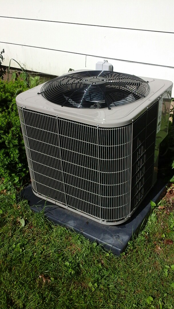 Albion, MI - Yearly maintenance tune-up on a Bryant air conditioning unit with R410A refrigerant charge and a 16 � 24 � 1 pleated air filter and condensate pump.