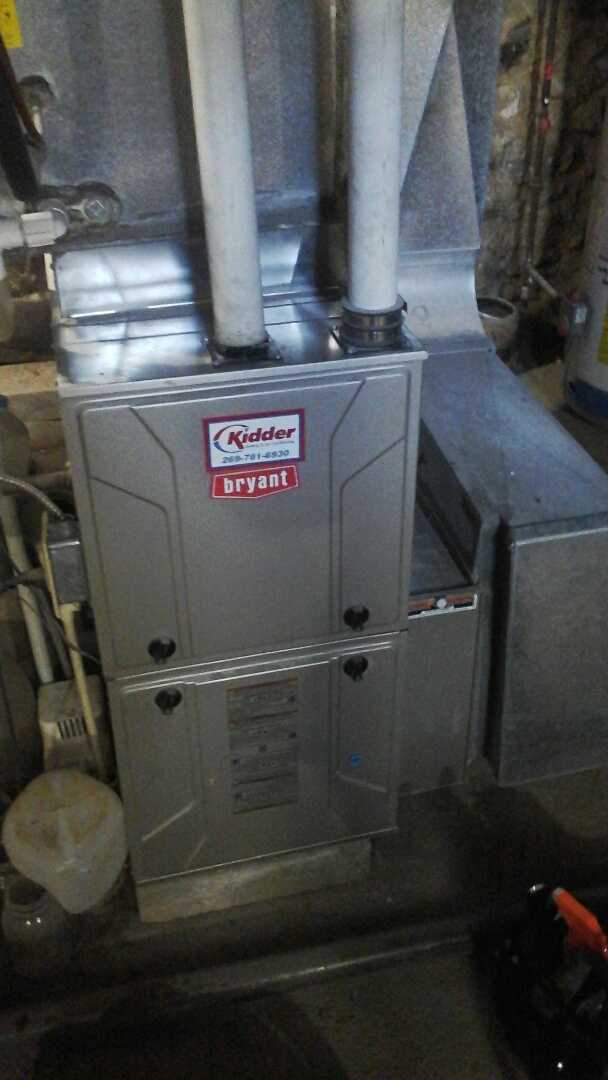 Homer, MI - Yearly maintenance tune-up on a Bryant condensing furnace with a 16 � 25 � 4 ezflex media air filter and condensate pump.
