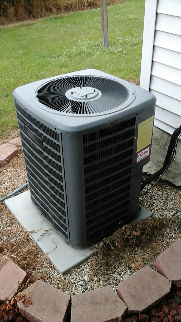 Bellevue, MI - Yearly maintenance tune-up on a Goodman air conditioning unit with R - 22 refrigerant charge and a 20 x 25 x 4 media air filter and condensate pump.
