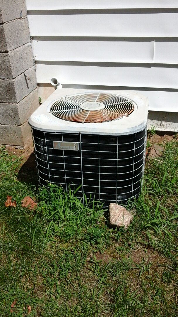 Battle Creek, MI - Yearly maintenance tune-up on a Amana RCB air conditioning unit with R - 22 refrigerant charge and a #201 Aprilaire media air filter and condensate pump.