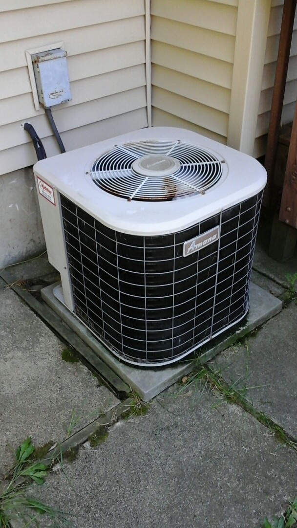 Battle Creek, MI - Yearly maintenance tune-up on a Amana RCB air conditioning unit with R - 22 refrigerant charge and a 16 � 25 � 4 media air filter and condensate pump.