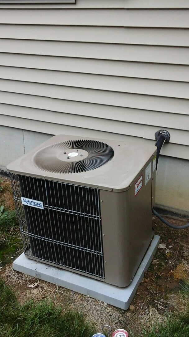 Marshall, MI - Yearly maintenance tune-up on a Armstrong air conditioning unit with R - 22 refrigerant charge and a 16 � 20 � 1 pleated air filter.