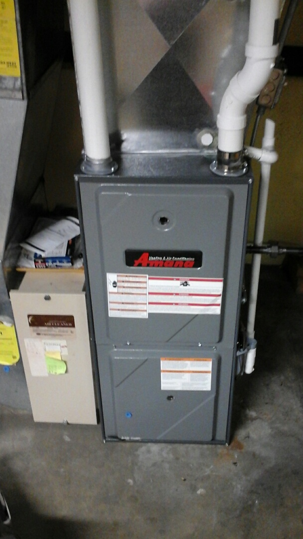 Burlington, MI - Yearly maintenance tune-up on a Amana AMH, condensing furnace with a 16 � 25 � 1 pleated air filter and condensate pump.
