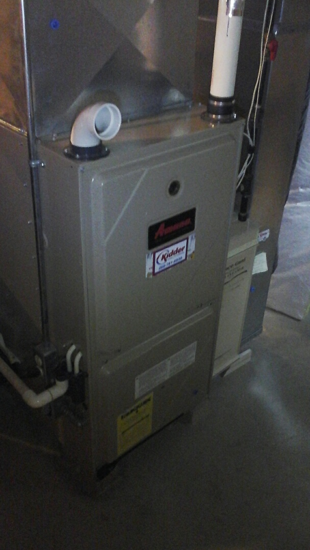 Albion, MI - Yearly maintenance tune-up on a Amana condensing furnace with a 20 x 25 x 4 media air filter and condensate pump.
