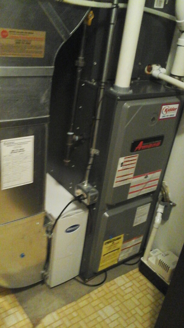 East Leroy, MI - Yearly maintenance tune up on a amana furnace with a 16 x25 x5 media air filter