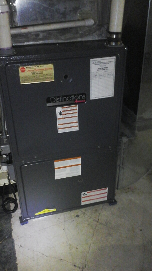Homer, MI - Yearly maintenance tune up on a amana furnace with a 16 � 24 x1 air filter and condensate pump.