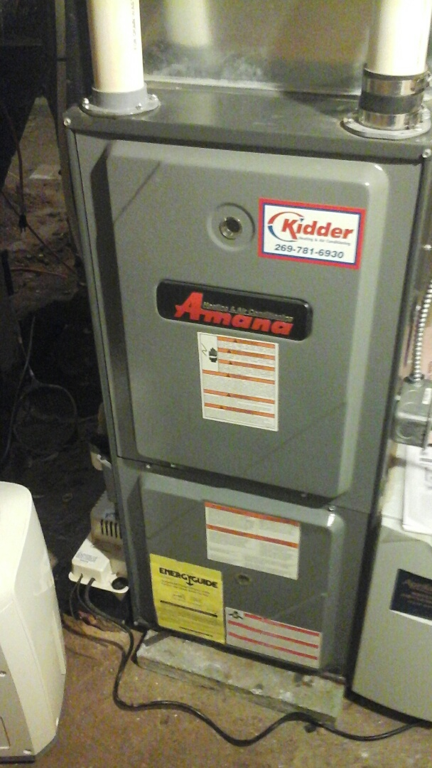 Bellevue, MI - Yearly maintenance tune up on a amana furnace with a 16 x20 x1 air filter and condensate pump