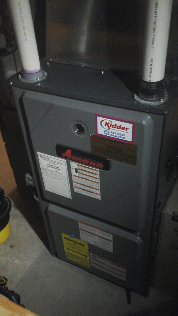 Tekonsha, MI - Yearly maintenance tune up on a amana furnace with a 20 x 25 � 4 filter and condensate pump