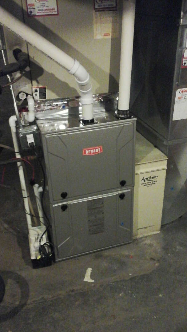 Homer, MI - Yearly maintenance tune-up on 96% efficient, condensing, modulating Bryant furnace with a 16 � 25 � 1 pleated air filter and condensate pump.