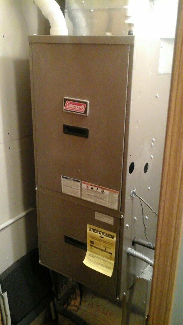 Albion, MI - Installation of new Induced draft motor on a 90% efficient Coleman, down-flow, gas furnace.