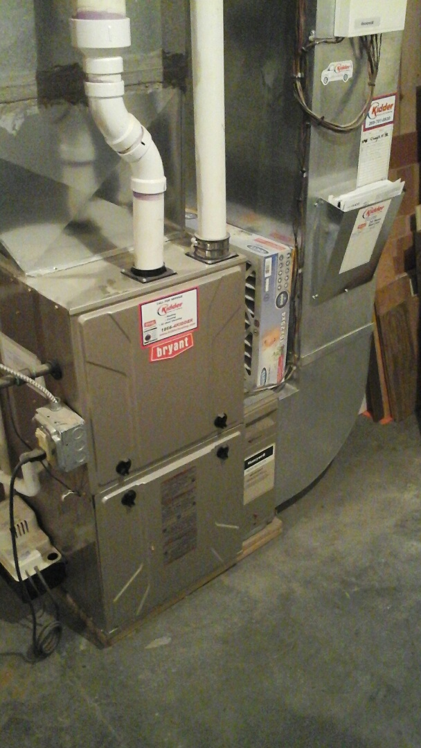 Ceresco, MI - Replacement of a solenoid valve on bypass humidifier on a condensing, gas fired Bryant furnace.