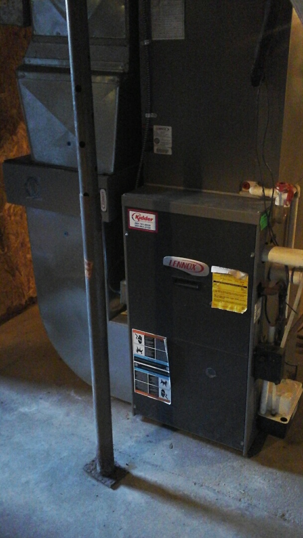 Homer, MI - Cleaning and clearing condensate drains on a high efficiency Lennox G61MPV furnace.