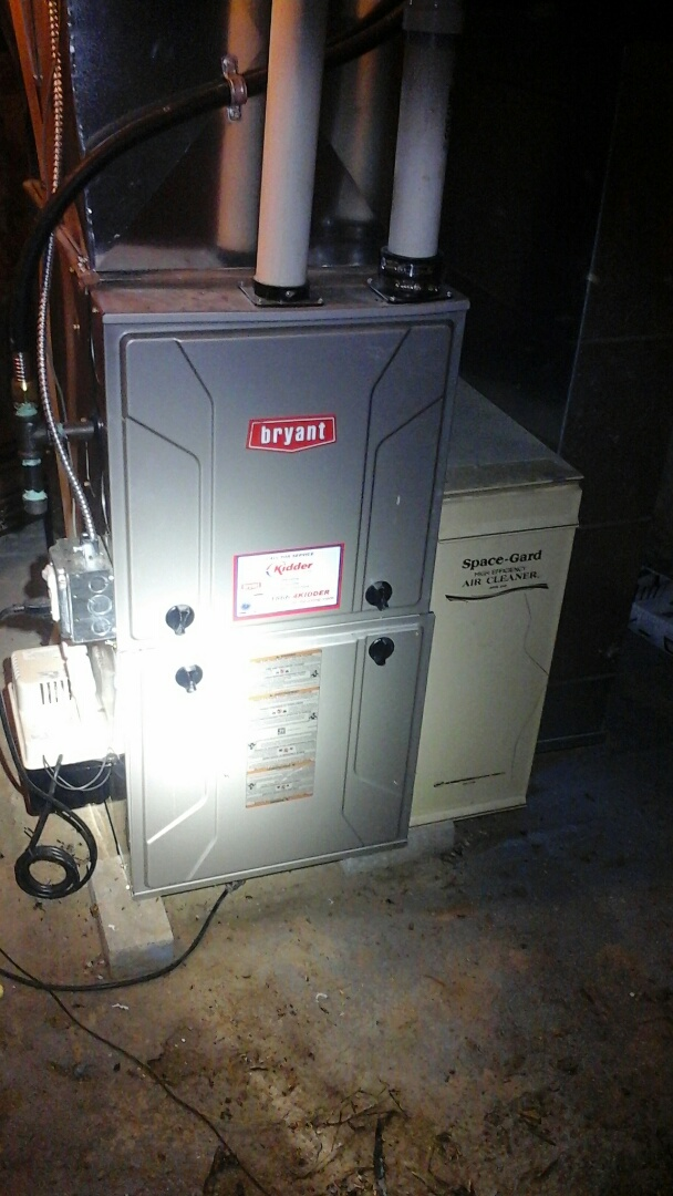 Bellevue, MI - Yearly maintenance tune up on a Bryant condensing furnace with a 16 x25 x4 media air filter, and condensate pump.