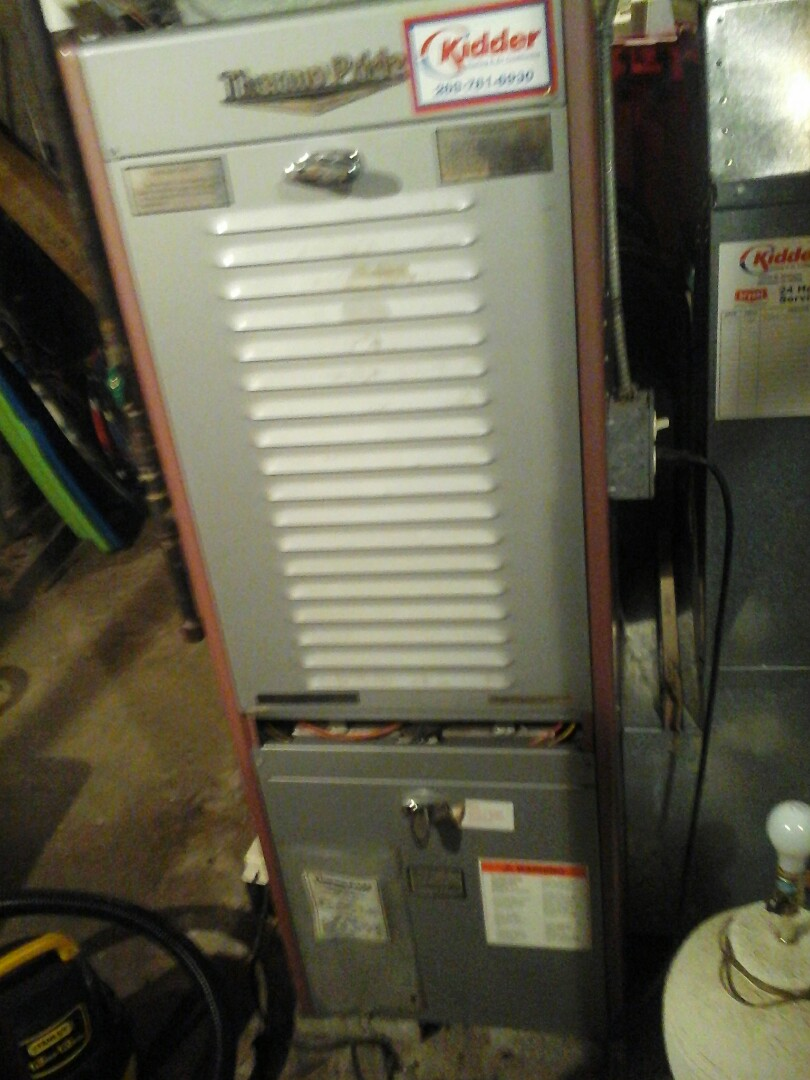 Albion, MI - Yearly maintenance tune up on a Thermopride furnace with a 16 x20 x1 air filter and condensate pump.