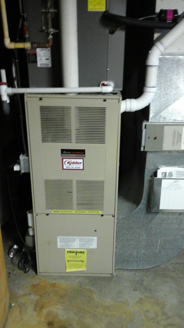 Olivet, MI - Replacement of the Flame rectification sensor on a 90% efficient Amana gas furnace.