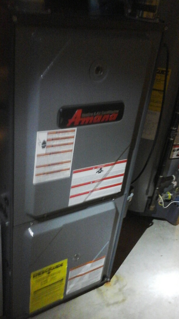 Bellevue, MI - Yearly maintenance tune up on a amana furnace with a 16 x25 x 5 air filter and condensate pump.
