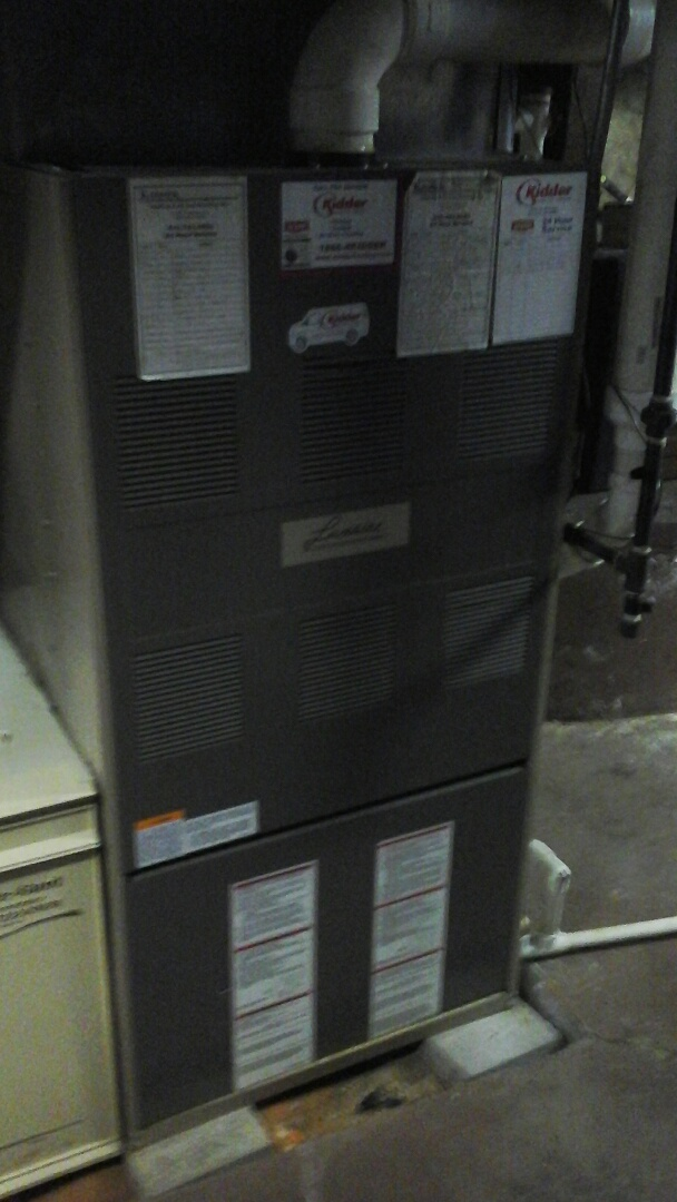 Marshall, MI - Yearly maintenance tune up on a Luxaire furnace with a #201 air filter and condensate pump.