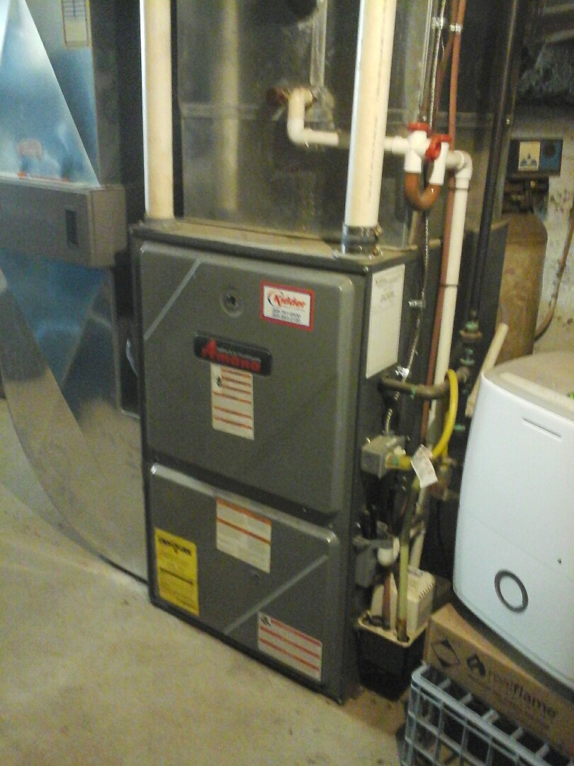 Marshall, MI - Yearly maintenance tune up on a amana furnace with a 20 x 25 � 4 filter and condensate pump.