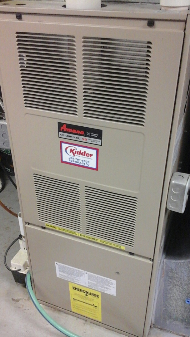 Marshall, MI - Yearly maintenance tune up on a amana furnace with a 16 x25 x4 filter and condensate pump.