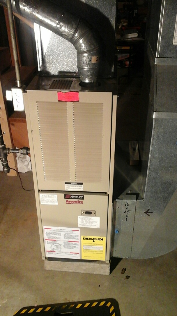 Marshall, MI - Yearly maintenance tune-up on a gas fired, 80% efficient, Arcoaire furnace with a 16 � 25 � 1 pleated air filter.