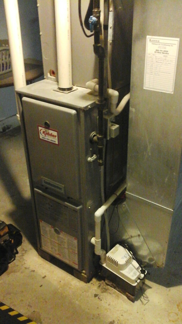 Battle Creek, MI - Cleaning of the flame rectification sensor on a Amana furnace.