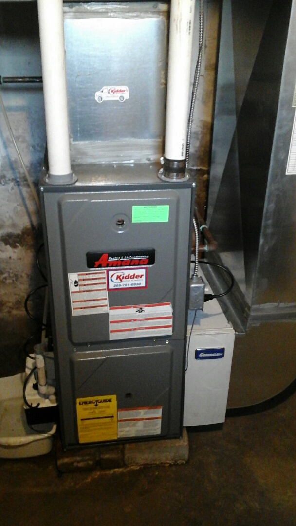 Marshall, MI - Yearly maintenance tune-up on a high-efficiency Amana gas furnace with a 16 � 25 � 5 media air filter and condensate pump.