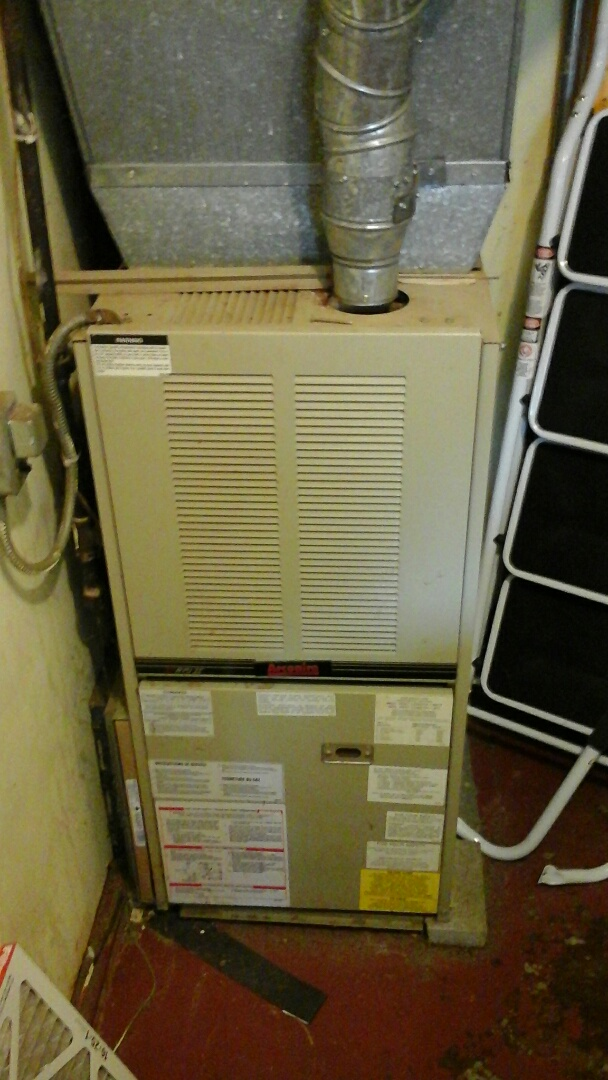Ceresco, MI - Yearly maintenance tune-up on a Amana furnace with a 14 x25x1 pleated air filter and condensate pump.