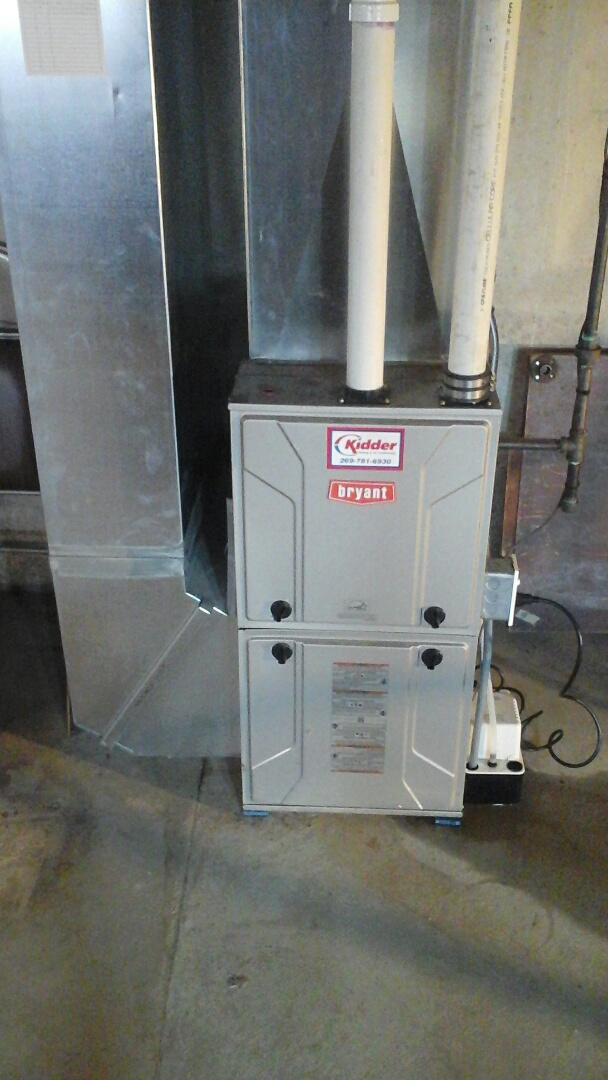 East Leroy, MI - Replacement of the condensate pump on a high-efficiency, condensing, Bryant gas furnace.