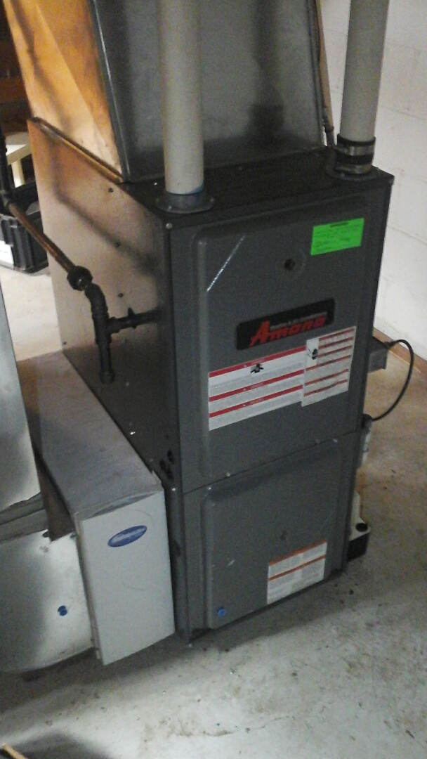 Marshall, MI - Yearly maintenance tune-up on a high-efficiency Amana gas furnace with a 20 x 25 x 5 media air filter.