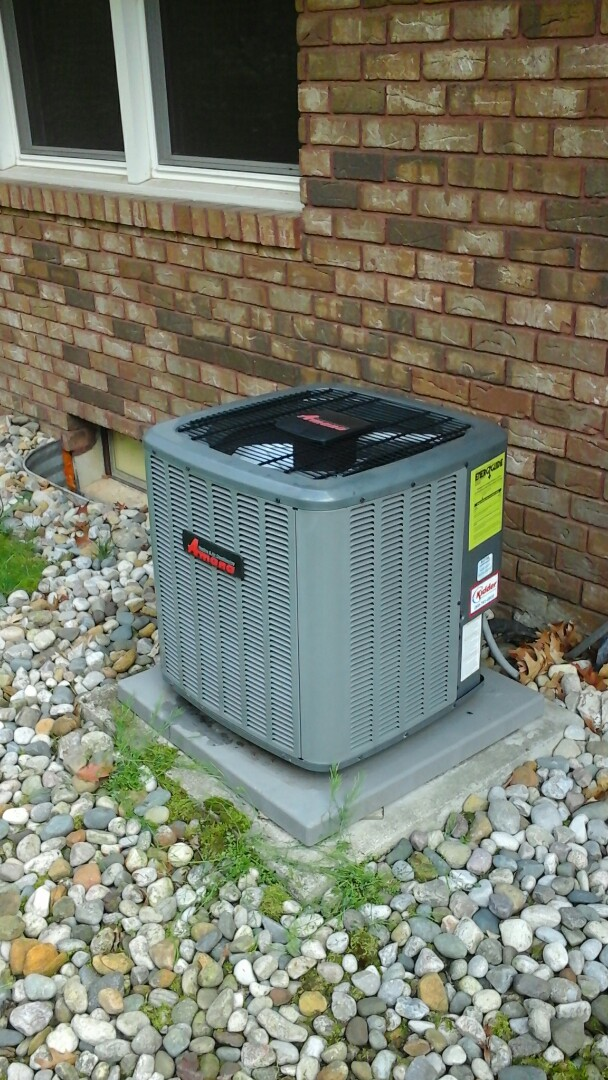 Battle Creek, MI - Yearly maintenance tune-up on a high-efficiency Amana air-conditioning unit with R410A refrigerant charge and a #413 upgrade media air filter.