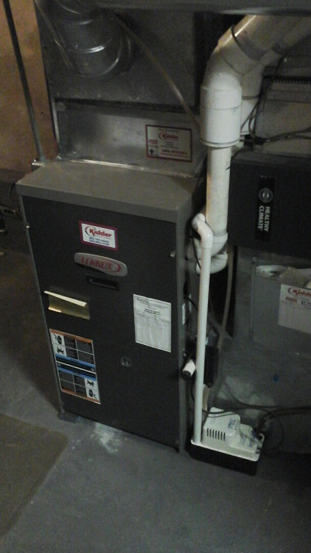 Burlington, MI - Replacement of the condensate pump on a high-efficiency Amana gas furnace.