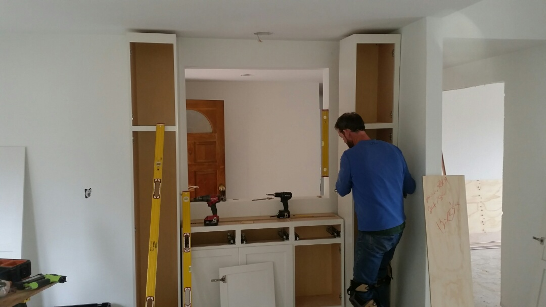 Descanso, CA - Marrokal Design and Remodeling - Cabinet Installation is going smoothly in this peaceful Descanso Home