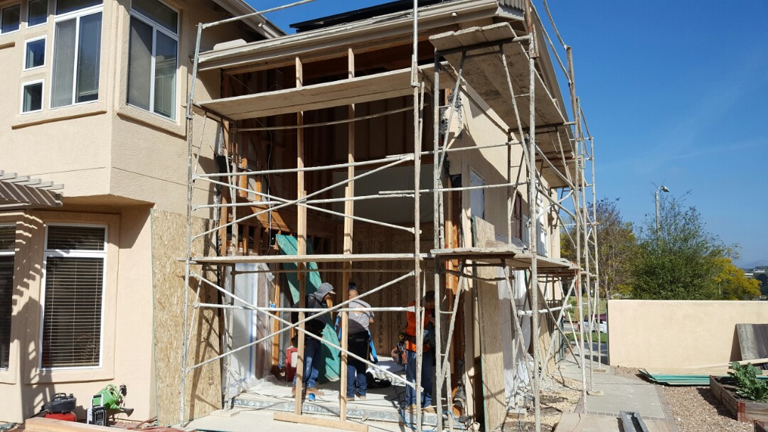 Escondido, CA - Office Loft in framing. Keeping 1 step ahead of the rain.