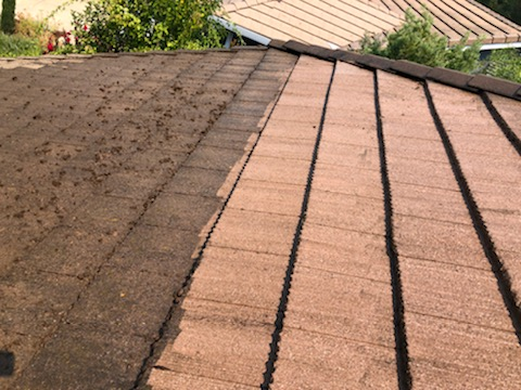 Sausalito, CA - Spot the difference! Cleaned up this roof on a Gutter Helmet install so that the home is protected AND picturesque. Another great example of the good professionals can do for your roof!