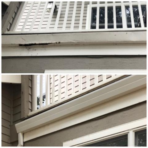 Cotati, CA - Another great shot from yesterday's job in Cotati. In addition to micro-mesh, we installed 170 feet of seamless Fascia gutters, as pictured in the bottom image. The difference speaks for itself! Replacing your old gutters better protects your home and further beautifies it!