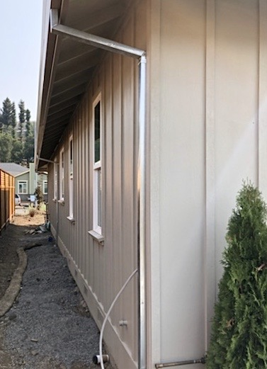 Santa Rosa, CA - Installed some eye-catching soldiered, galvanized downspouts on this Santa Rosa residence today! Galvanized steel downspouts are a great addition to any home as they are extremely durable and will retain their shape no matter the climate; yet another of the top-quality products we supply and install in the Bay Area!