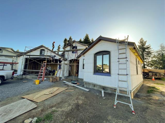 Santa Rosa, CA - Action shot of this Santa Rosa rebuild! We love to see homes affected by the fires going back up and we're honored to help with 208 ft of seamless gutters and micro-mesh. Great to see this home coming back stronger and better protected!