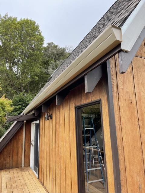 Mill Valley, CA - Got into it on this Mill Valley home with new gutter and downspouts to protect and keep things running smooth! This is a key time of year for home fire safety, so keep your eyes on this space to see how our expert team can help you protect your home the summer!