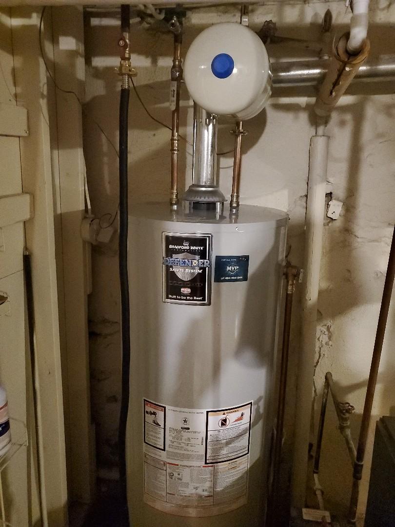 Wynnewood, PA - Finished 50 Gallon gas water heater in Wynnewood Pa for John Reush