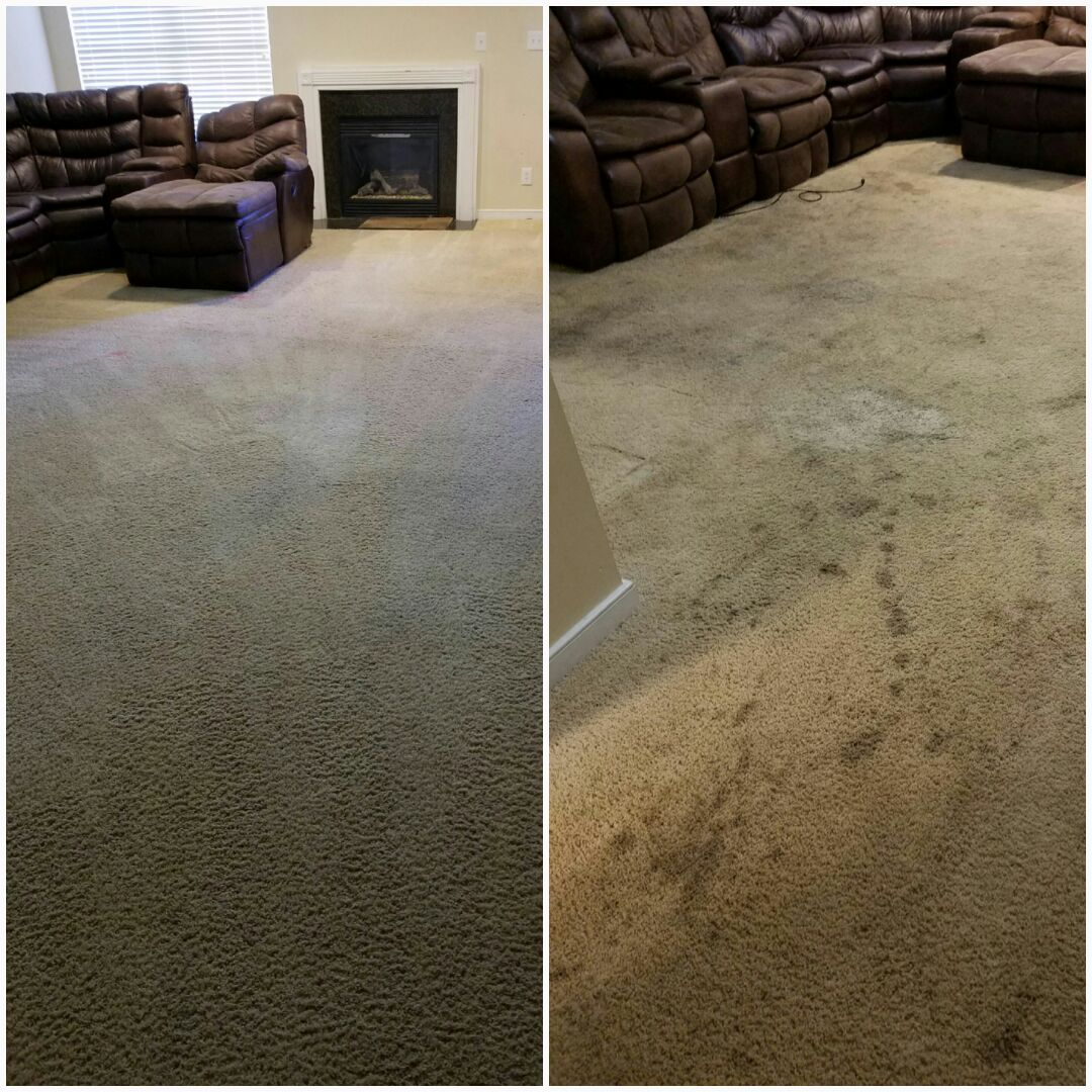 Woodsboro, MD - This family definitely put this carpet through the ringer! They were afraid they'd have to replace it in order to sell their home. Definitely not necessary any longer. Wow, what a difference! Here is a great before and after picture.