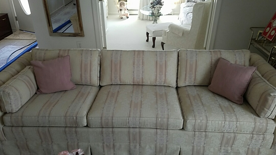 Woodsboro, MD - This sofa has been in this young ladies family for 80 years!! And they've only trusted one company to clean it. Green Dog Chem Dry! It looks amazing!