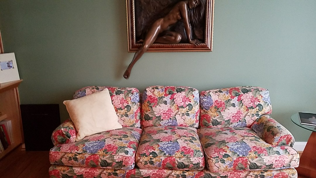 Ijamsville, MD - This once dull and bland sofa is once again vibrant and beautiful after a good cleaning!