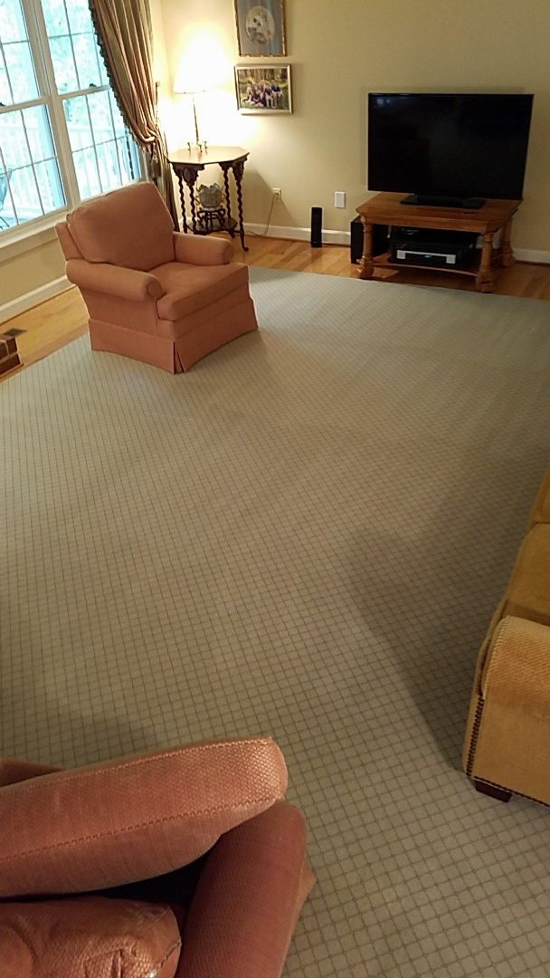 This families cut and bound wool rug was destroyed by their kids and cats, you'd never know that after a good cleaning.
